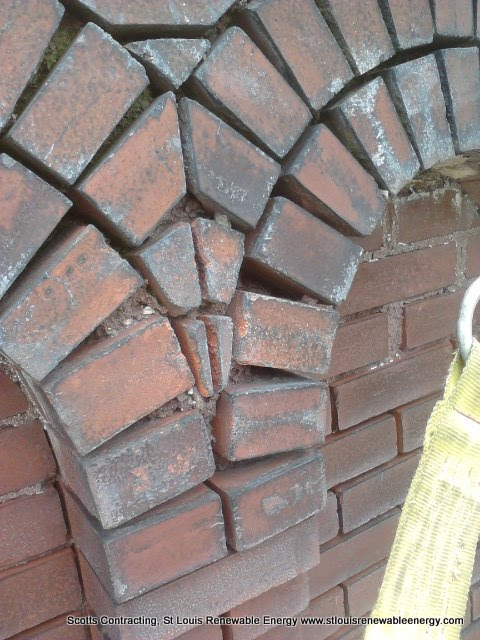 Mortar almost completely eroded from Bricks-Luckily the Keystones are still in place