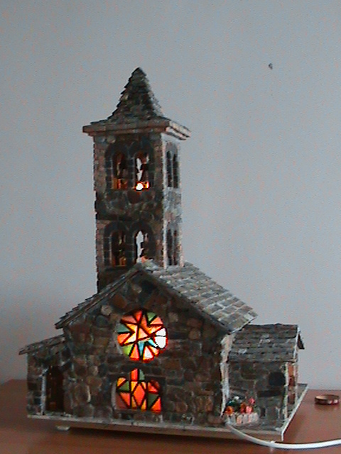 Casas de piedra en miniatura glesia - Casas en miniatura de madera ...