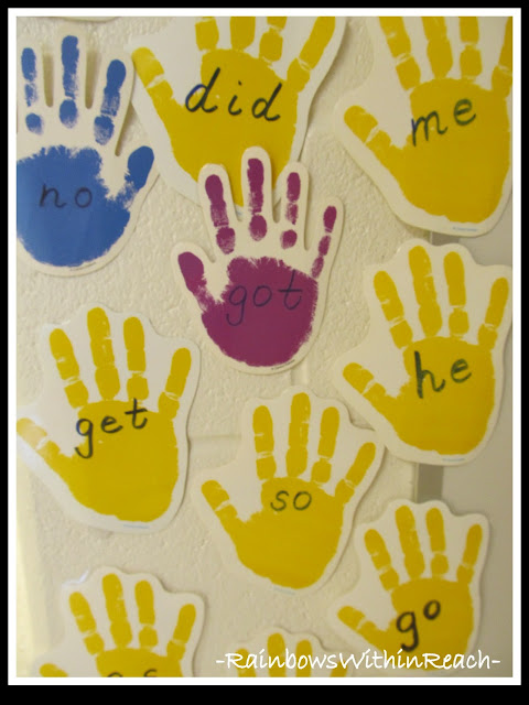 photo of: Sight Words Handwritten on Hand Template (from Word Wall Round Up)