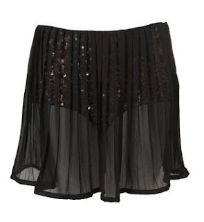 Topshop Glitter hotpants with pleated chiffon skirt