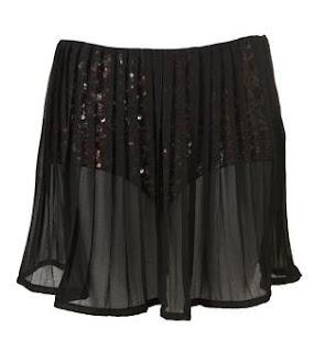 Topshop Glitter hotpants with pleated chiffon skirt