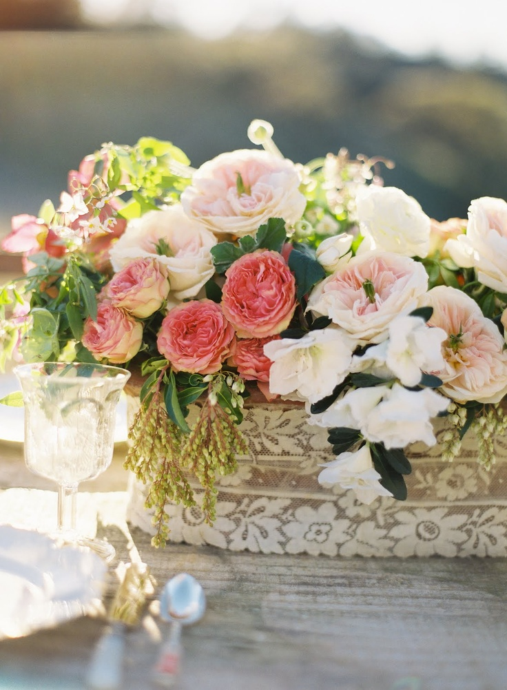 Take five peachy pink flowers and vintage treasures the