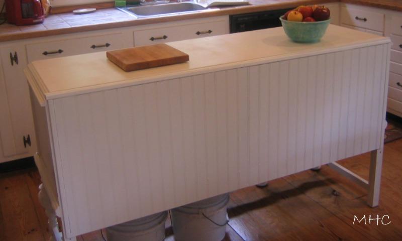 Turning a buffet sideboard into a kitchen island - Kitchen island decorative trim ...
