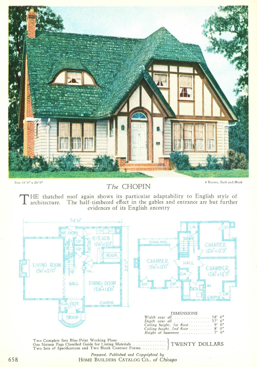 Its 1925 and youre building a house what are your options the chopin from the 1927 home builders catalog the blueprints were 20 malvernweather Images