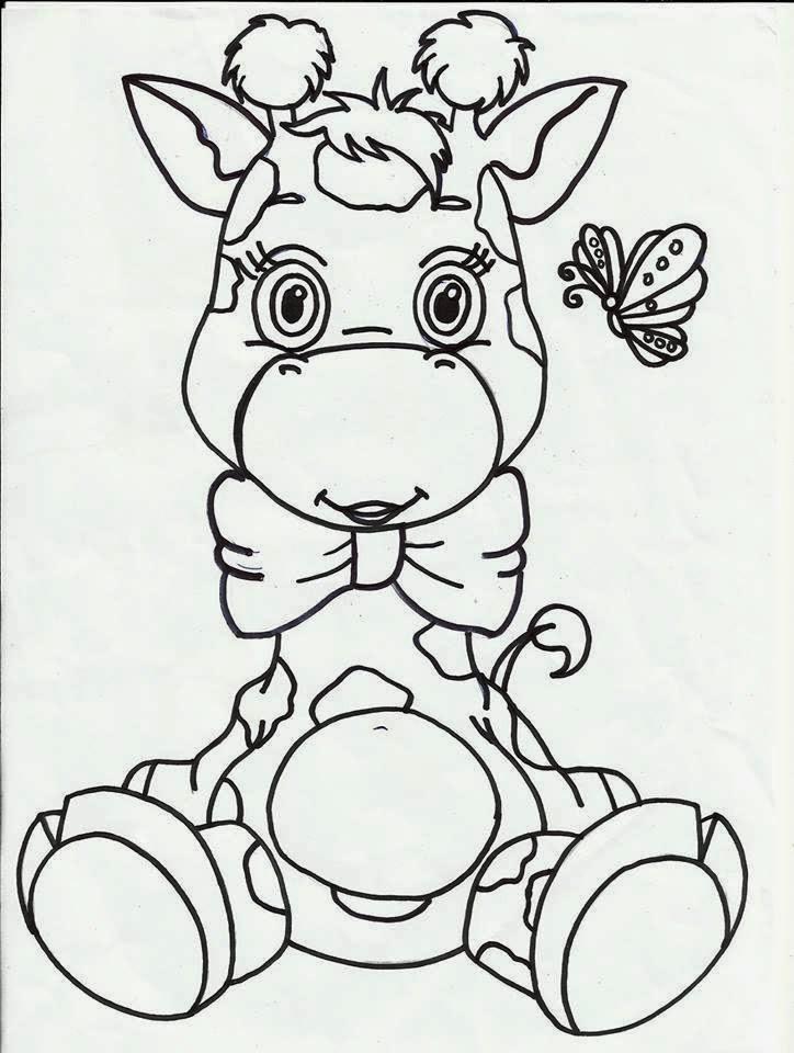 desenho de bebe girafa com laço de fita para pintar