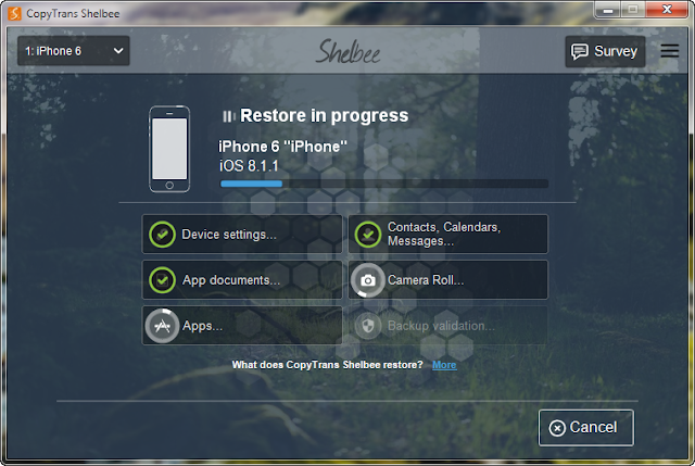 iphone restore progress bar