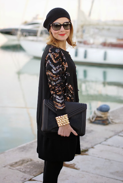Black and golden elegant outfit, Kangra cappello, Marc by Marc Jacobs Hobbes cardigan, Fashion and Cookies, fashion blogger