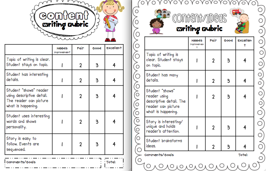 rubric for creative writing grade 2