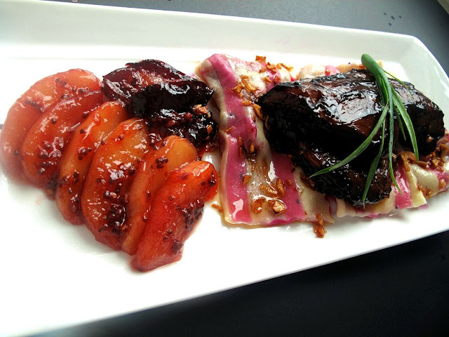 ... Chicken with Dragonfruit Ravioli and Apple-Plum Chutney, and a