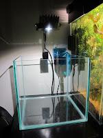 acuario vacio iluminado por lampara led