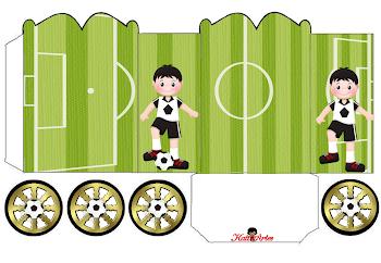 Futbol: Cajas con forma de Carruaje para Imprimir Gratis.