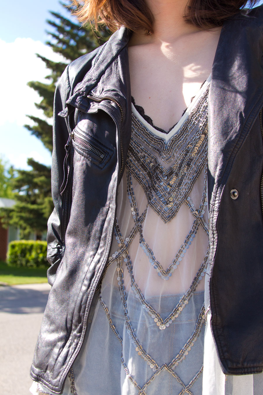 embellished top, sheer top, leather, botkier, danier, urban outfitters, kimchi blue, res denim, cat eye sunglasses
