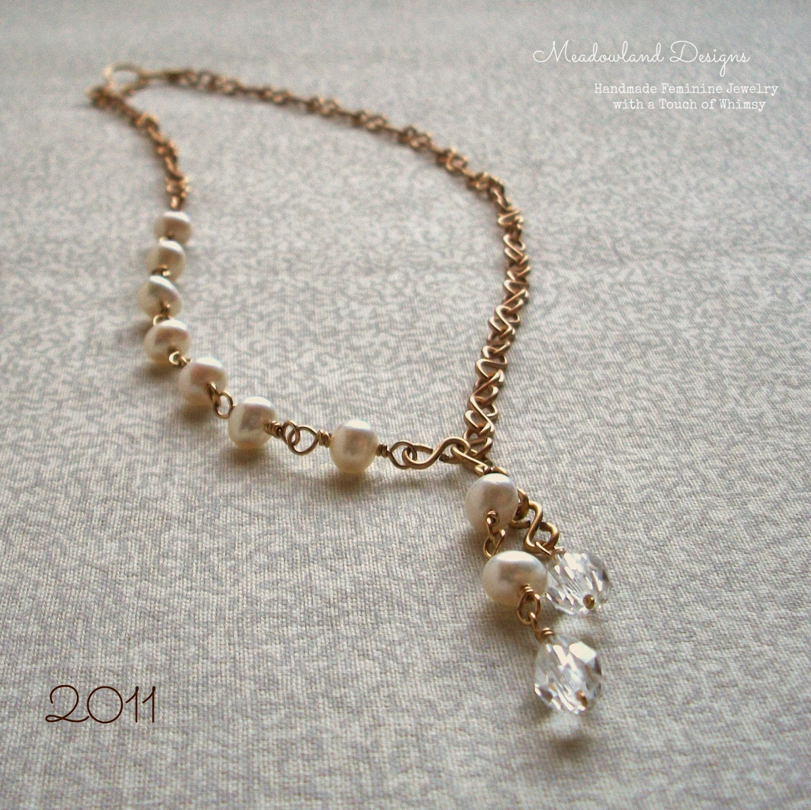 Asymmetrical Pearl Wirework Necklace with vintage crystal, 2011