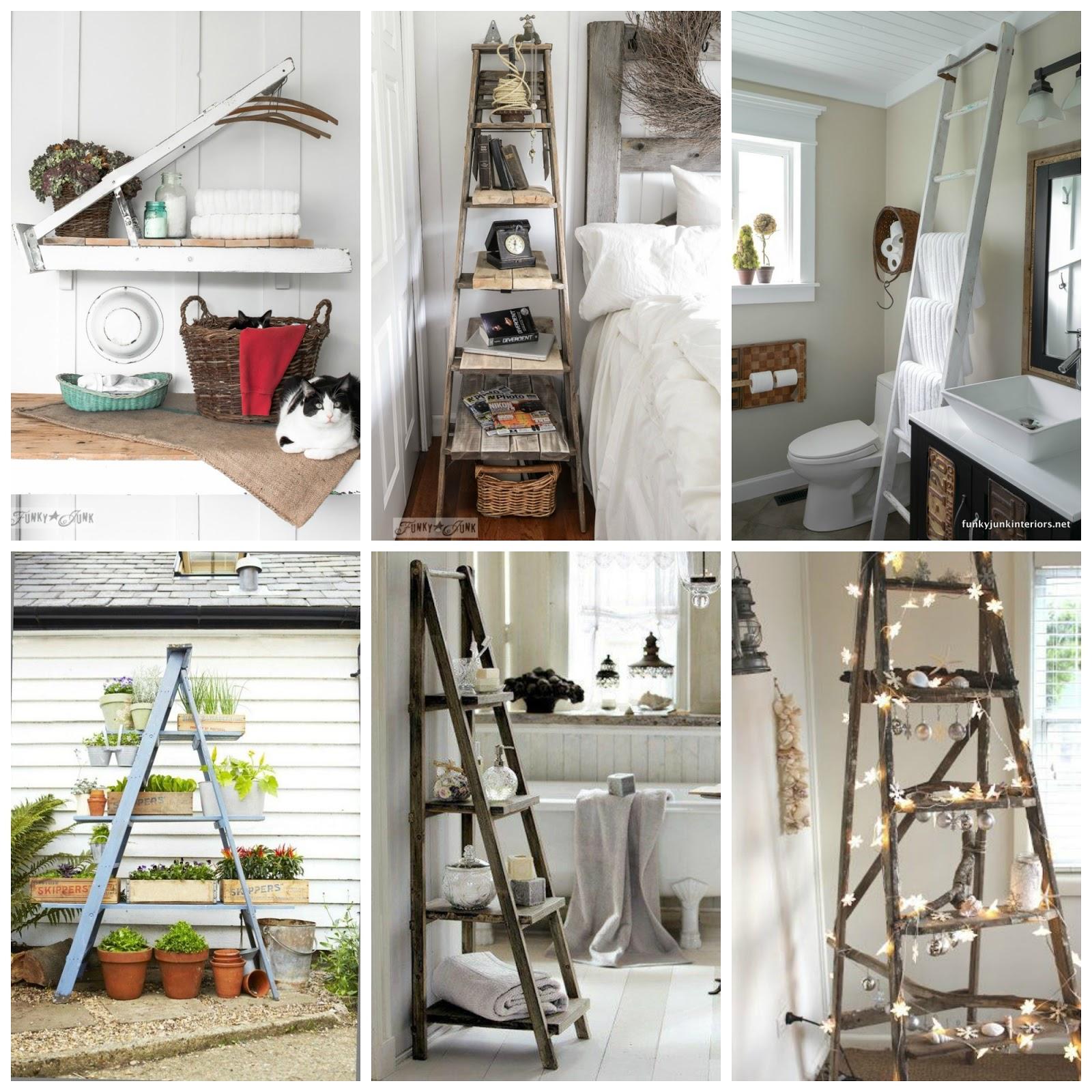 20 idee per riciclare vecchie scale di legno donneinpink - Idee per riciclare ...