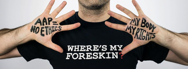 A bold body rights protest image depicting a man with a shirt that says Where's my foreskin?