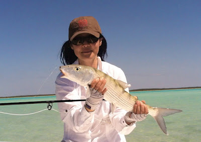 Hyun with another lovely bonefish, Andros, Bahamas