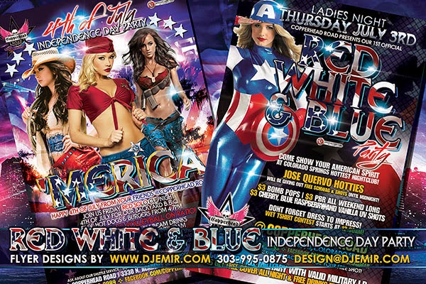 Red White And Blue 4th Of July American Independence Day Party Flyer Design Colorado Springs
