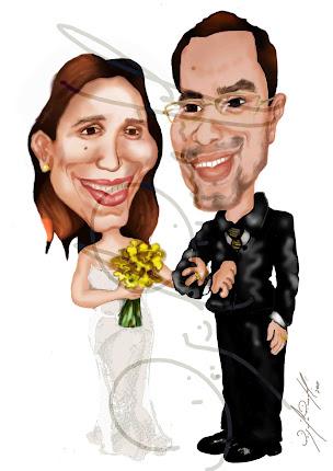Caricatura personalizada de noivos