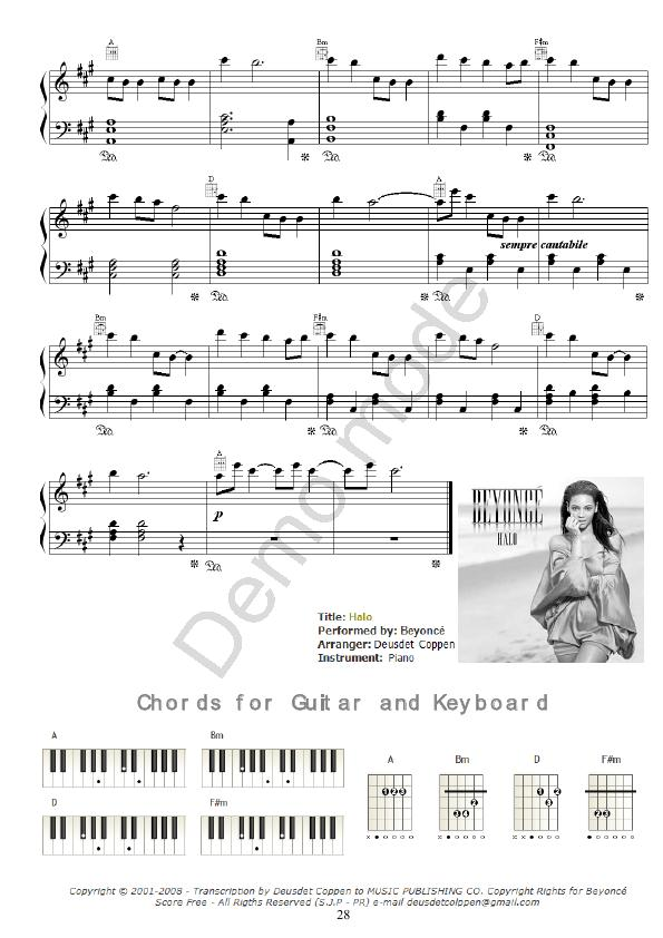 Magnificent Halo Beyonce Guitar Chords Photos - Guitar Ukulele Piano ...