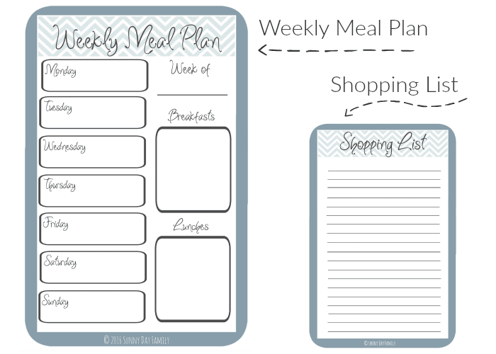 meal planning template with grocery list - free printable organizer sunny day family