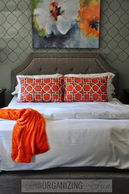 Gray, Orange, and Blue master bedroom :: OrganizingMadeFun.com