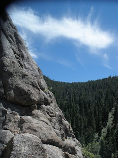 View from ledge, Bailey's Overhang at Boulder Canyon in Colorado