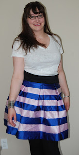Pieced Striped Satin Skirt by Cicely Ingleside