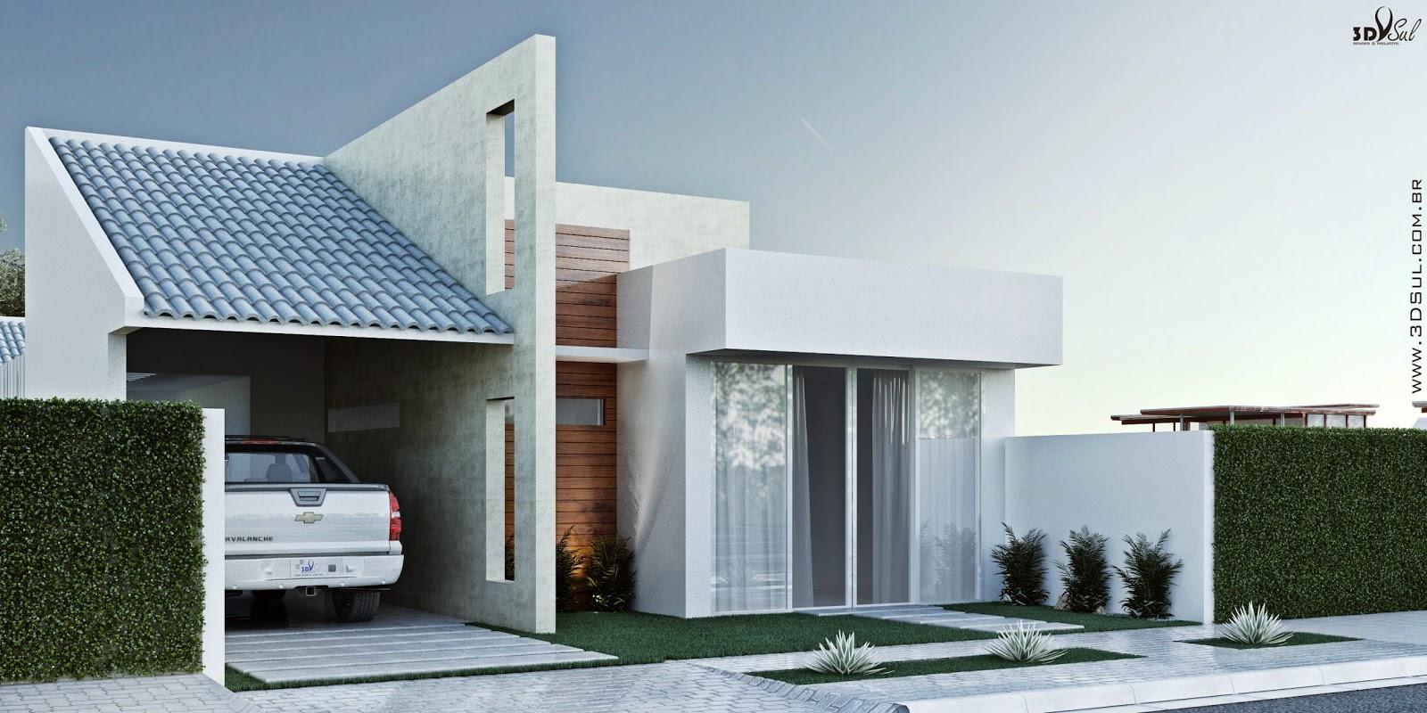 3D: Fachada 3D de Casa / Arquitetura 3D Casa (Umuarama PR #654534 1600x800 Arquitetura De Banheiro Simples