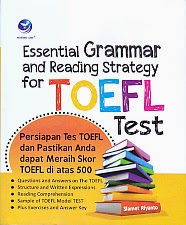 toko buku rahma: buku ESSETIAL GRAMMAR AND READING STRATEGI FOR TOEFL TEST, pengarang slamet riyanto, penerbit andi