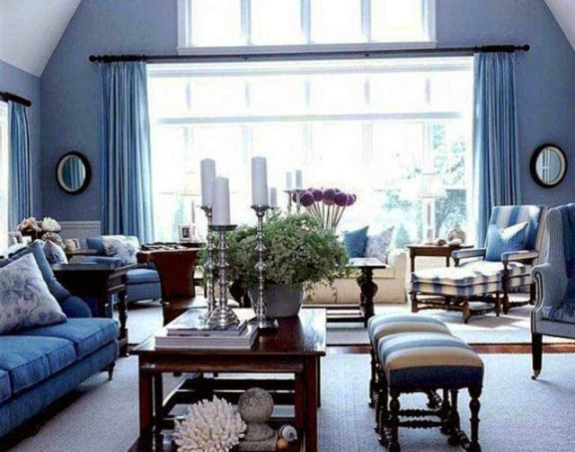 painting ideas for living room with blue furniture
