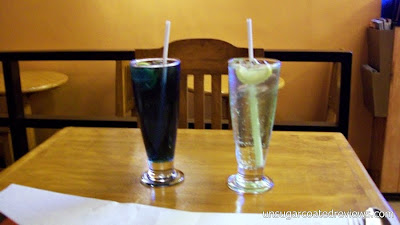 Violet Curacao and Cucumber Soda at The Lazy Bean