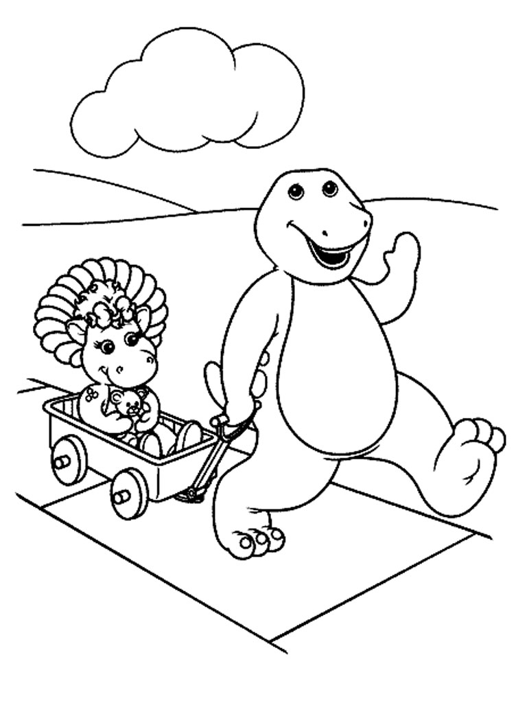 printable barney and friends coloring pages realistic