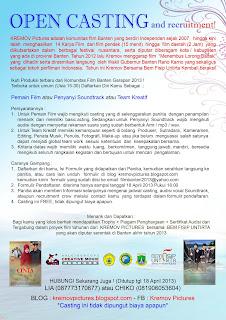 Download Formulir Pendaftaran Casting & Recruitmen Crew TAHUN 2013 !