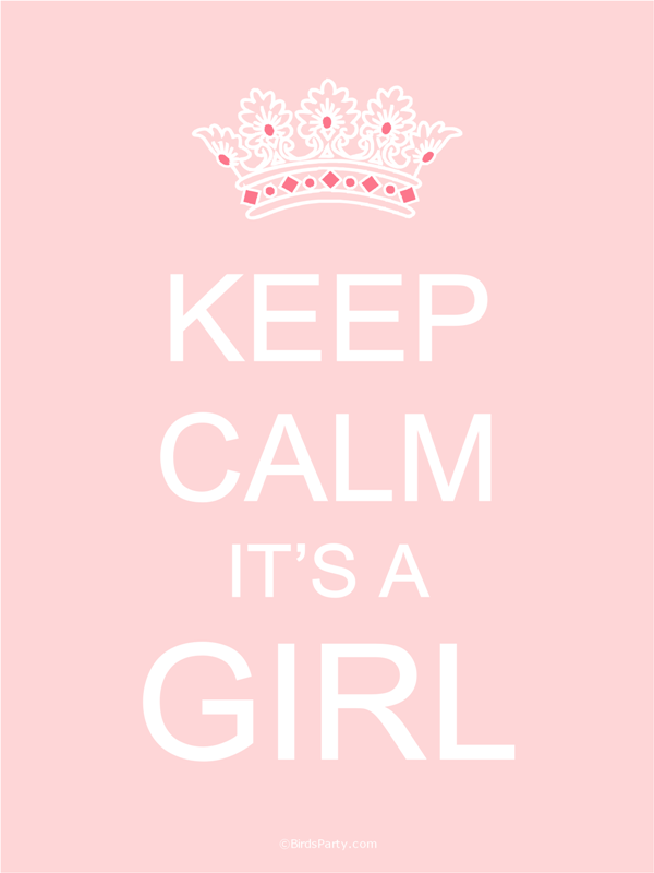 FREE Printables: Keep Calm Baby Shower Gender Reveal Signs Girl