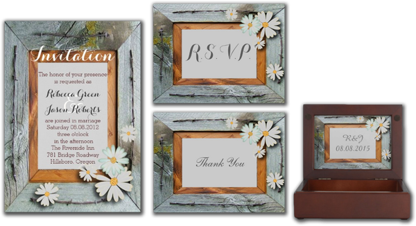 Vintage Daisy Barn Wood Western Country Wedding Announcement