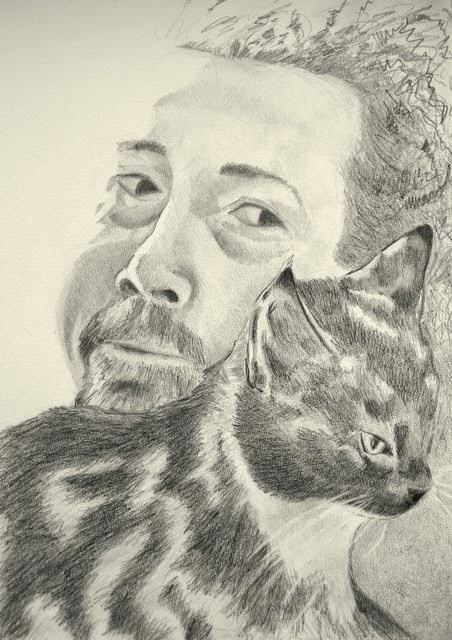 portrait cat man graphite