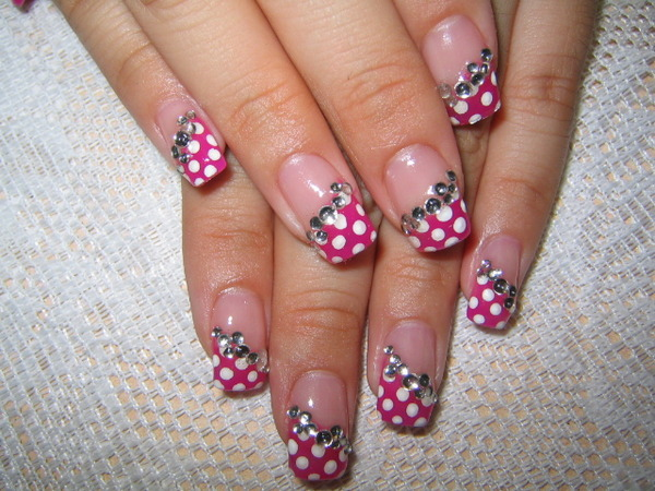 The Astounding Cute simple pink white nail art Picture
