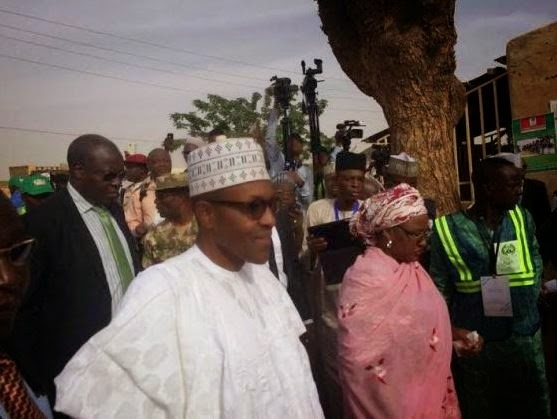 APC Presidential Candidate Gen. Buhari and wife doing their accreditation in Katsina