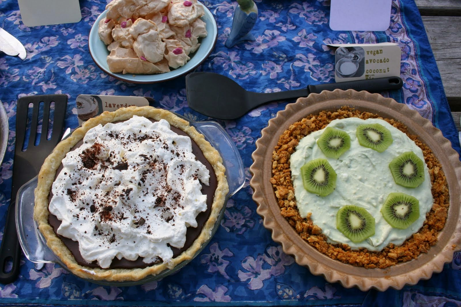 Chocolate Lavender Pie + Vegan Avocado Pie with Kiwi