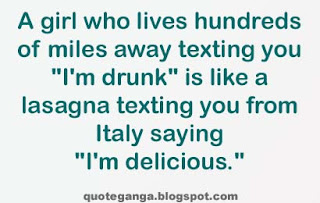 A girl who lives hundreds of miles away texting you I am drunk is like a lasagna texting you from Italy saying I'm delicious.
