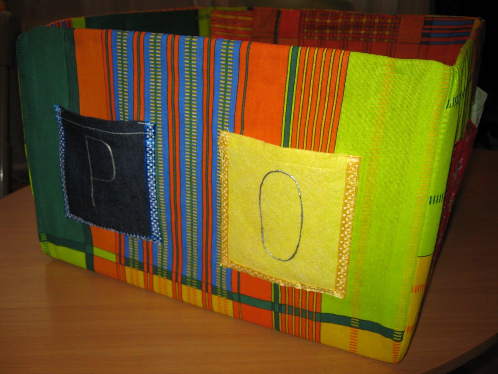 Как обшить картонную коробку тканью своими руками под игрушки 14
