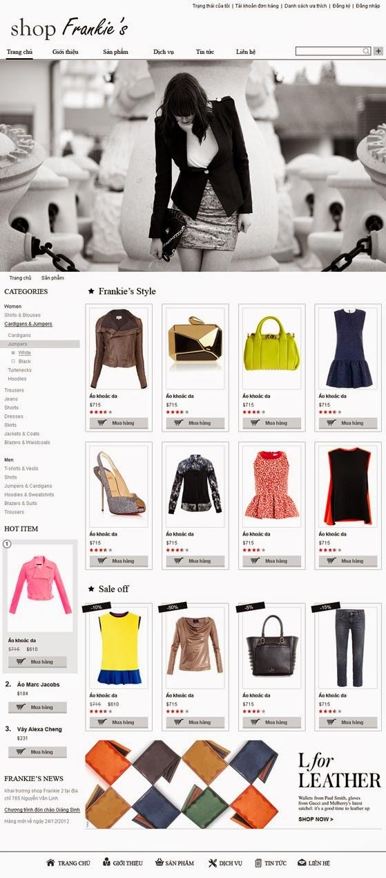 Thiết kế website bán hàng quần áo
