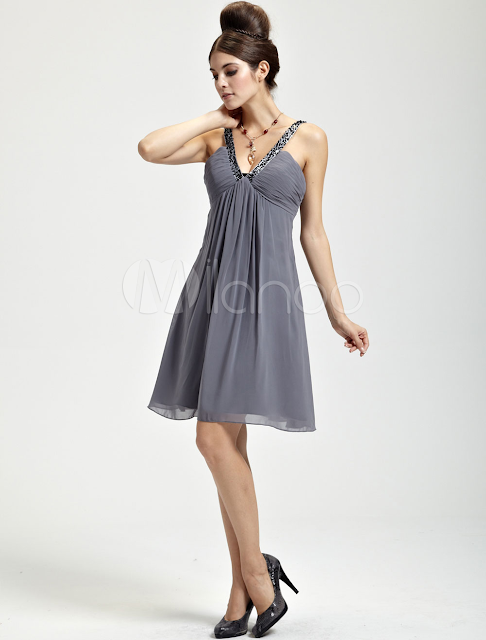 China Wholesale Clothes - Delicate Deep Gray Chiffon V-neck Knee Length Womens Cocktail Dress