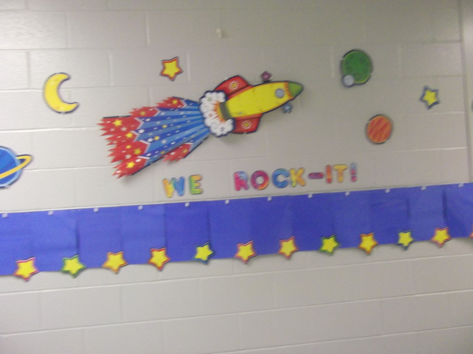 One happy teacher classroom theme robot outer space hallway display we rock it - Outer space classroom decorations ...
