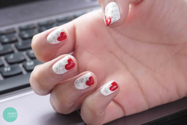 newsprint-nails-heart-bookmark-polish