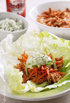 Buffalo Chicken Lettuce Wraps [from Skinnytaste via SlowCookerFromScratch.com]