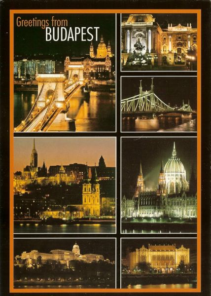 multiview postcard showing floodlit sights of Budapest at night
