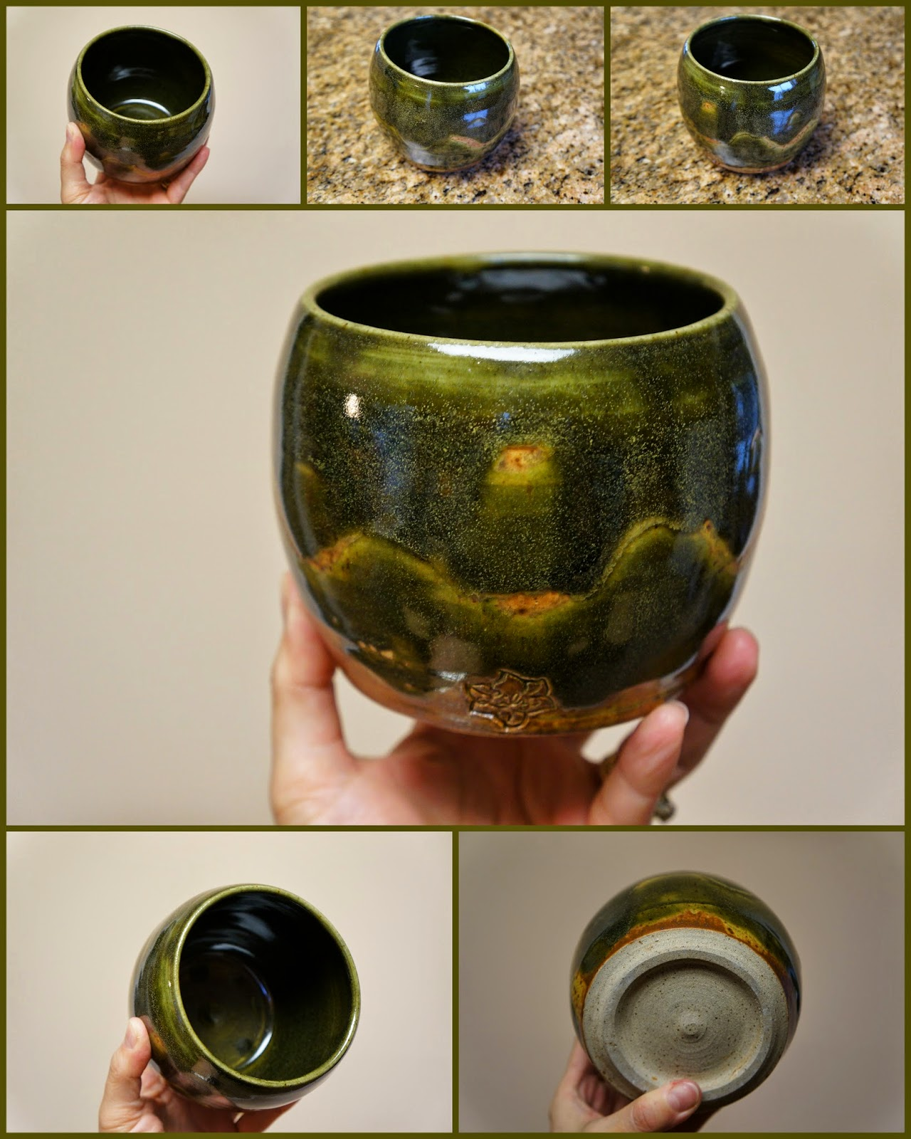 Nice handmade pottery / stoneware thrown vase with wax resist design.