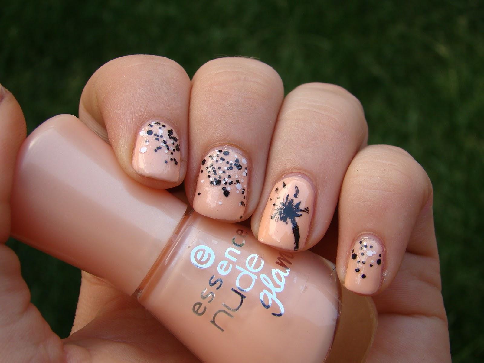 Einfache Nageldesign. Black Pink Glitter Gradient Nails With ...