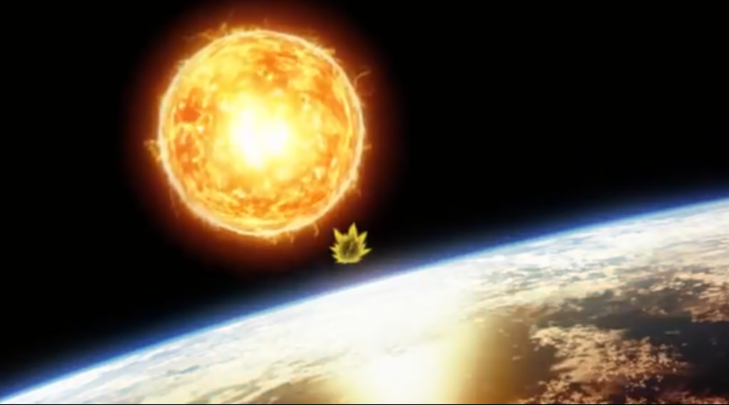 Giant power ball by Lord Bills as approaching Goku and Earth